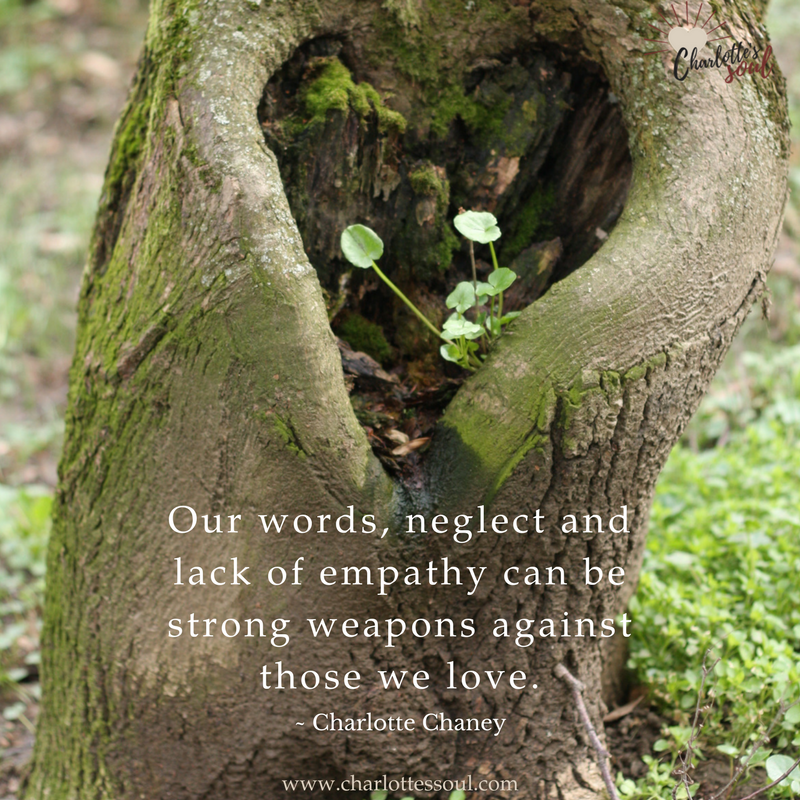 Our words, neglect and lack of empathy can be strong weapons against those we love. https://charlottessoul.com
