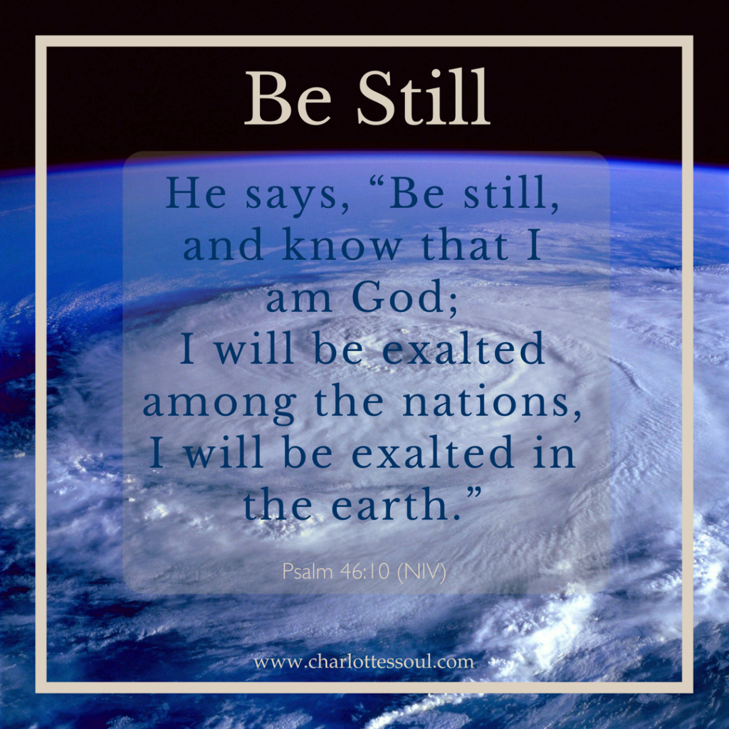 """Be still, and know that I am God; I will be exalted among the nations, I will be exalted in the earth."" Psalm 46:10"