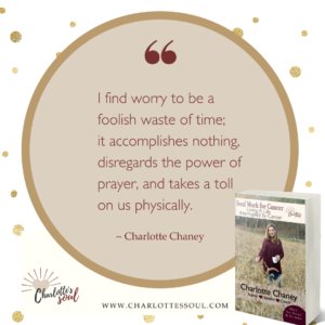 I find worry to be a foolish waste of time; it accomplishes nothing, disregards the power of prayer, and takes a toll on us physically. ~Charlotte Chaney